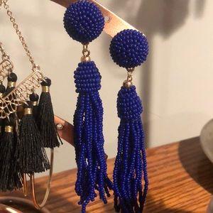 Blue beaded drop earrings